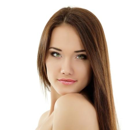 mooie vrouwen: tiener meisje mooie vrolijke genieten op een witte achtergrond