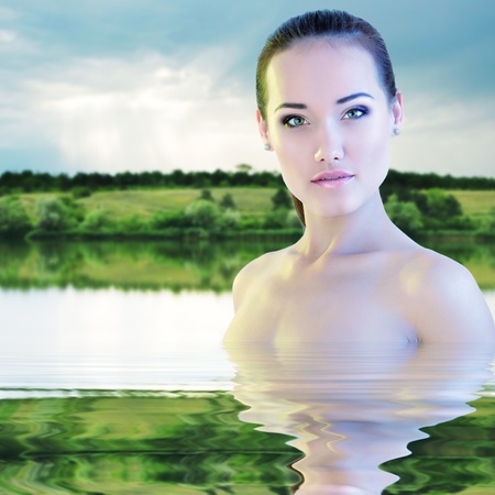 woman young beautiful swimming river morning sunrise nature outdoor photo