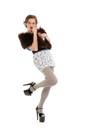 drag queen: gay man attractive she-male makeup with dress and platform shoes full-length isoloated on white background