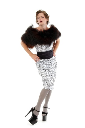 shemale: gay man attractive she-male makeup with dress and platform shoes full-length isoloated on white background