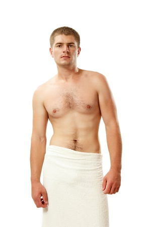 brawny: man young handsome athlete with bath towel isolated on white background