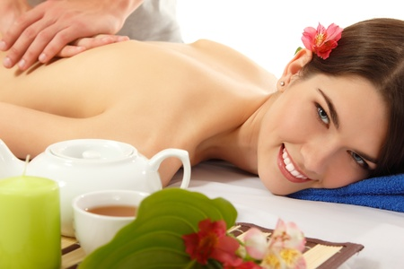 massage woman young beautiful cheerful photo
