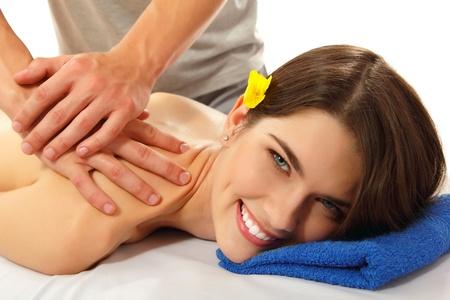 massage woman young beautiful cheerful photo