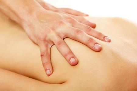 massaggio collo: massaggio donna giovane bella isolato su sfondo bianco