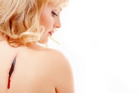 fallen angel: woman beautiful fallen angel isolated on white background