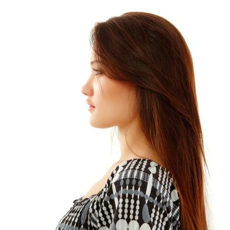 teen girl beautiful profile enjoying isolated on white background Stock Photo - 12503363