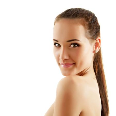 piel: adolescente alegre disfrutando de hermosa aisladas sobre fondo blanco Foto de archivo