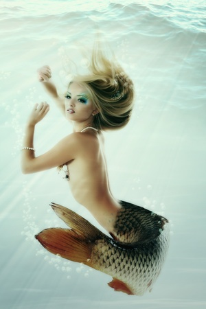 sea nymph: mermaid beautiful magic underwater mythology being original photo compilation  Stock Photo