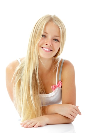 long blonde hair: teen girl beautiful blond cheerful enjoying isolated on white background