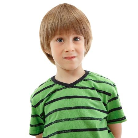little boy emotional portrait isolated on white background Stock Photo