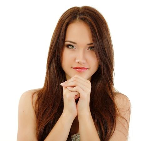 adolescentes chicas: chica adolescente alegre hermosa que disfruta aisladas sobre fondo blanco