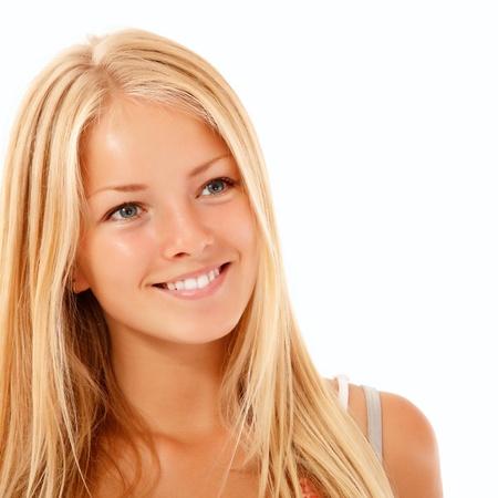 teen girl beautiful cheerful enjoying isolated on white background photo