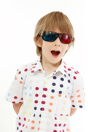 boy happy with 3d glasses isolated on white background photo