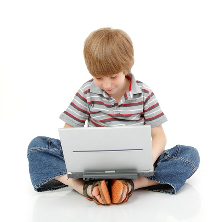 boy little learning with notebook isolated on white background Stock fotó