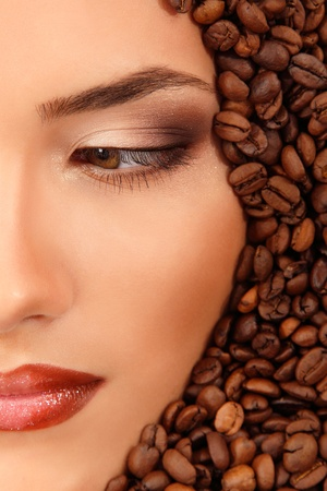 coffee woman beauty face beautiful make-up photo