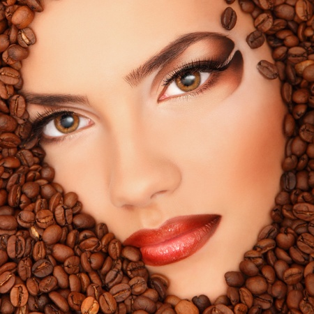 coffee woman beauty face beautiful make-up Stock Photo - 13151023