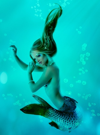 sea nymph: mermaid beautiful magic underwater mythology