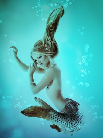 sea nymph: mermaid beautiful magic underwater mythology Stock Photo