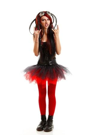 teen girl hard depression informal ciber punk isolated on white background Stock Photo - 13205059