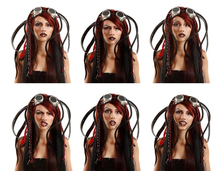 teen girl informal ciber punk emotional set facial expressions isolated on white background photo