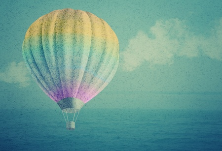 compilation: balloon over watercolor sea landscape paper grunge background original photo compilation  Stock Photo