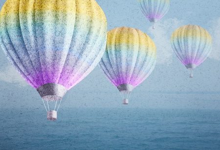 balloons over watercolor sea landscape paper grunge background original photo compilation  photo