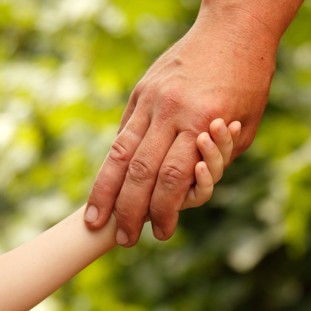 joining together: family father and child son hands green nature outdoor  Stock Photo