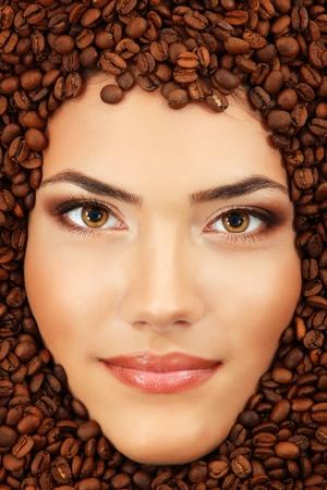 coffee woman beauty face beautiful make-up photo