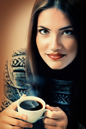 teen girl attractive drinking coffee photo