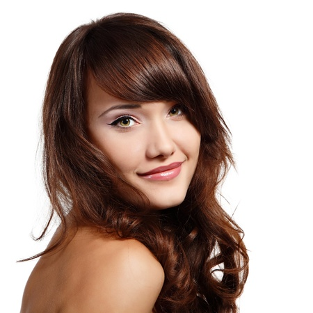 brunets: teen girl beautiful cheerful enjoying isolated on white background