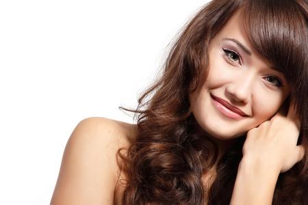beautiful long hair: teen girl beautiful cheerful enjoying isolated on white background