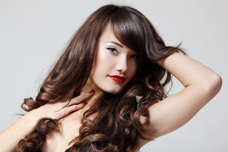 beautiful hair: teen girl beautiful hair cheerful enjoying isolated