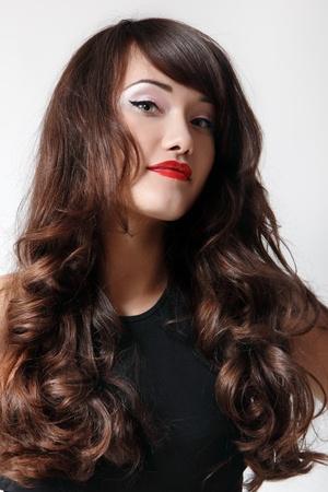 teen girl beautiful hair cheerful enjoying isolated photo