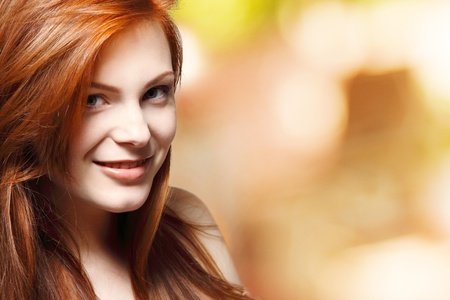teenager girl beautiful red hair cheerful enjoying photo