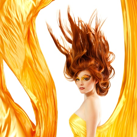 fire teenager girl beautiful red hair enjoying photo