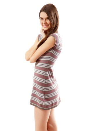 ni�a: alegre adolescente hermosa chica aisladas sobre fondo blanco