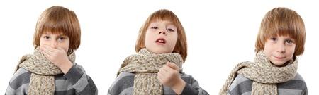 sneeze boy isolated on white background photo