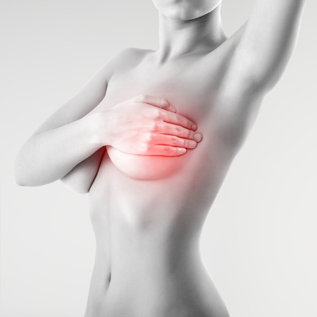 breast examination: woman examining breast mastopathy or cancer