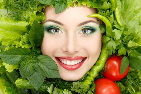 greens: greens vegetables frame woman beauty face isolated on white background