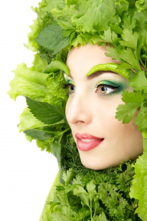 woman beauty face with green fresh lettuce leaves frame Stock Photo - 13786189
