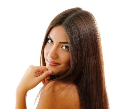 belle brunette: adolescente belle fille gaie aimais isolé sur fond blanc Banque d'images