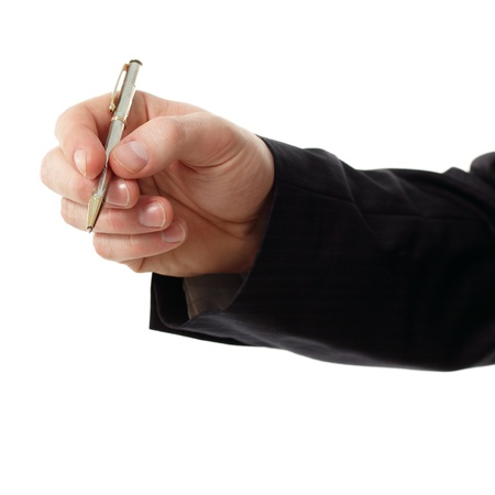 hand holding pen: business man hand holding pen isolated on white background