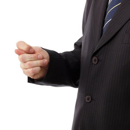 desprecio: negocios que muestra la figura - gesto de desprecio aislado sobre fondo blanco Foto de archivo