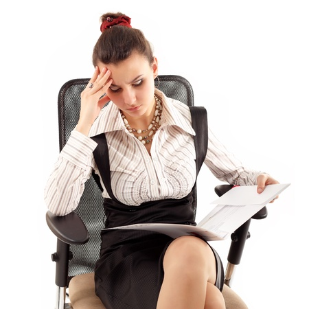 business woman tired depressed isolated on white background photo