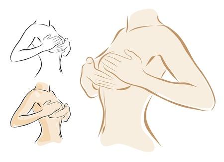 mujer desnuda senos: mujer examinando el c�ncer de mama