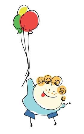dessin au trait: enfant gar�on voler avec des ballons - illustration de bande dessin�e ensemble des personnes Illustration