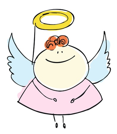 angel girl sweetie child happy smiling with wings - cartoon people vector illustration set Stock Vector - 14565723