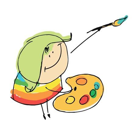 cartoon painter: girl child happy artist painting - cartoon people vector illustration set