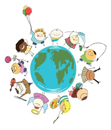 Earth globe of happy children vector illustration Vector