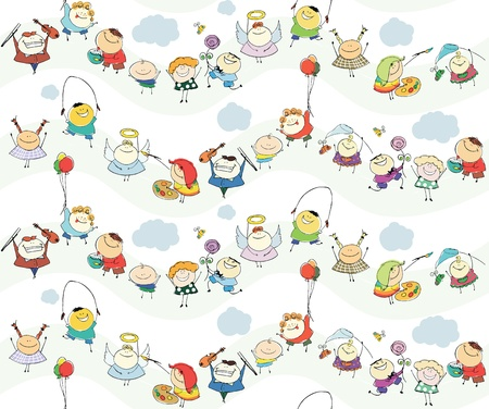 seamless children wallpaper with happy kids  Vector